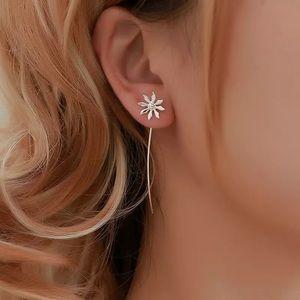 Flower Line Tassel Long Earrings